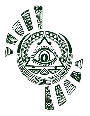 Aztec design - dark green