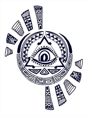 Aztec design - dark blue
